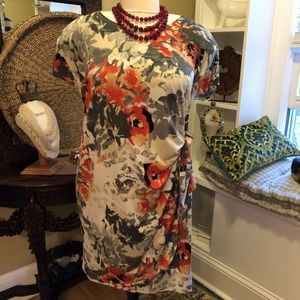 Signature Robbie Bee -2X-Gray & White floral Dress